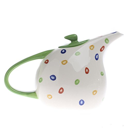 Adorable Polka Dot Painted Ceramic Teapot with Green Handle