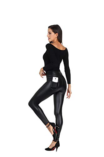MCEDAR Women's Faux Leather Leggings with Pockets Girls' Black High Waist Sexy Skinny Slim Fit Pants (XS, Black #1) -