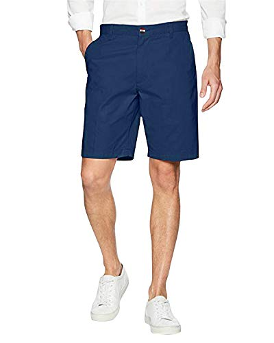 (INCERUN Mens Summer Cotton Shorts Classic Flat Front Casual Work Chino Shorts 1-Dark Blue M)