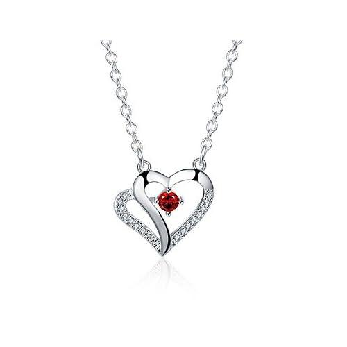 MJW&XL Femme Cœur Forme Hypoallergique Mode Doux Pendentif de collier Colliers chaînes Zircon Zircon Cuivre Plaqué argent Pendentif de collier