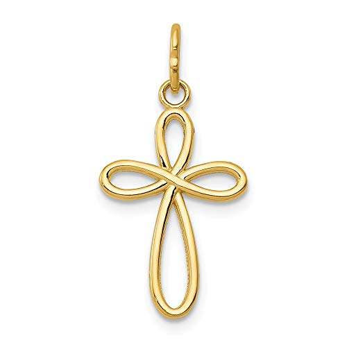 14k Yellow Gold Small Ribbon Cross Religious Pendant Charm Necklace Fine Jewelry Gifts For Women For Her