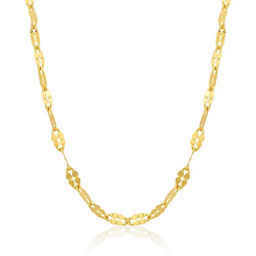 (Gelin 14k Real Gold 2.0 mm Flat Cable Piatto Chain for Women and Men, Fine Jewellery Birthday Gift for Her/Him, 18 inch)