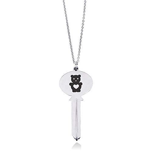 Stainless Steel Teddy Bear Love Oval Head Key Charm Pendant Necklace