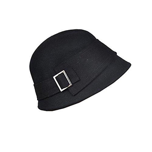 Landana Headscarves Women's Cloche Wool Felt Bucket Hat with Buckle - Black - Felt Bucket