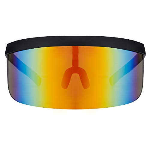 Futuristic Oversize Shield Visor Sunglasses Flat Top Mirrored Mono Lens By ASVP Shop
