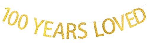 INNORU 100 Years Loved Banner Gold Glitter Sign - 100th Birthday Party -