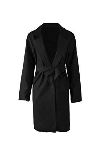 Shoulder Trench - mettime US Womens Girls Cool Trench Coat Vent Waistband Fashion Vent Adjustable Shoulder Solid Color Long Wind Coat Lungo Cappotto (Black, XL)