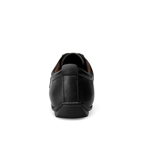 Abby 302 Mens Comfort Lace-up Lederen Trainers Vrije Tijd Gezellige Atletische Comfortabele Bewegende Zakelijke Schoenen Zwart