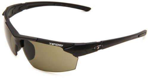 Tifosi Jet 0210400175 Wrap Sunglasses,Matte Black Frame/Green Lens,One - Triathlete Sunglasses