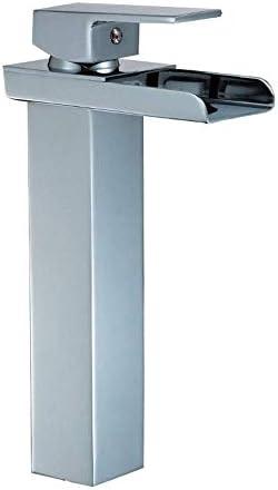 飲料水フィルタータップ高アークシングルハンドル浴室の蛇口1つの穴の滝の浴室の虚栄心のシンクの蛇口大口栓(色:シルバー、サイズ:26 * 13.7 cm)