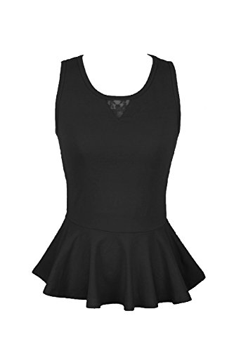 2LUV Women's Sleeveless Peplum Top W/ Sheer Lace Back Black S (S3346)