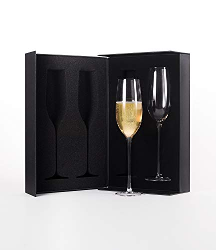 (The Excelsior by DUX - Handmade, 100% Lead-Free, Crystal Champagne Flutes, Set of 2 Glasses, Elegant Gift Box)
