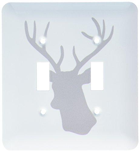 lsp_179695_2 Grey Deer Head Silhouette on White Modern Gr...