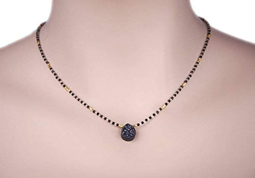 - Black Druzy Quartz Pendant Beaded Necklace with Black Spinel Stone and Gold Vermeil 17 in. LLD Jewelry