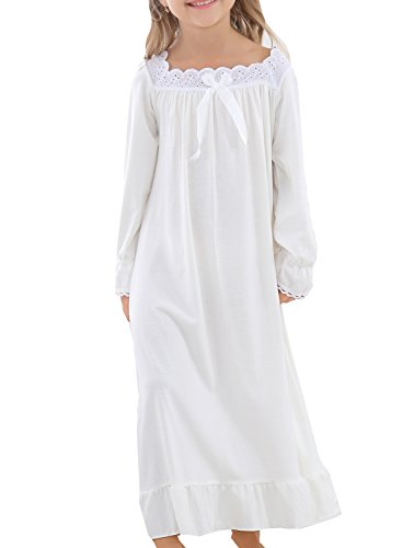 LLP 2018 New Litele Girls Cream Lace Soft Cotton Sleepwear Homedress -