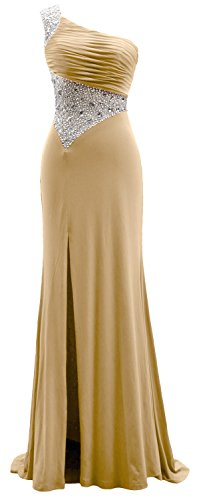 Jersey Long Dress MACloth Gown Formal Champagner Prom One Sheath Evening Shoulder t1wYqS
