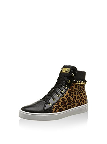 Guess Sneaker Woman Boots Gloria Active Lady Eco Leather Chain Gold Black / Leopard cJYHQxvP