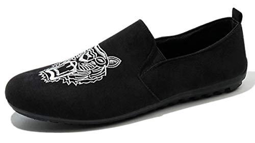 Blanco Mocasines Conducción Bordado Pisos Casual Loafers Gamuza De Zapatillas Zapatos Hombres Aardimi qPS7wUx