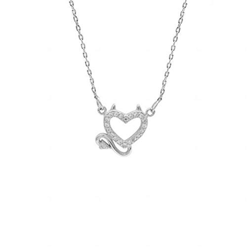 - WOZUIMEI S925 Sterling Silver Little Devil Love Necklace Personality Temperament Angel Love Clavicle Chain Fashion Jewelry, Demon, 925 Silver