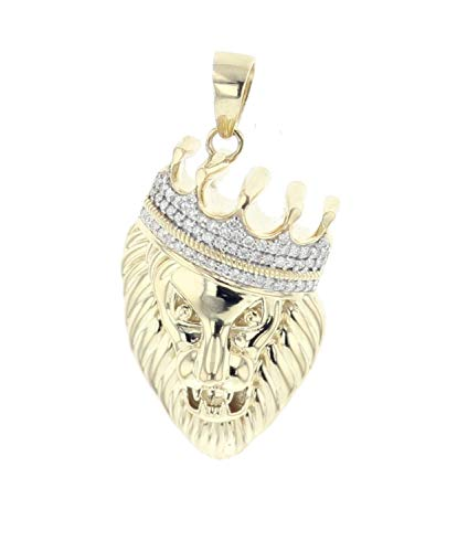(Midwest Jewellery 10K Gold Lion Head Pendant for Men Lion King Diamond Charm Lion with Crown 0.36ctw)