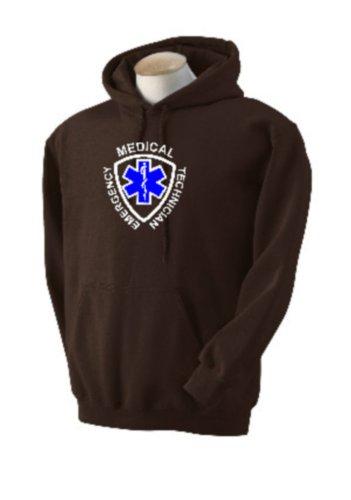 Brown Custom Hooded Sweatshirt (Custom Emergency Medical Technician Star of Life Logo on Hooded Pullover Sweatshirt , mens x-large, dark brown)