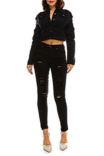 American Bazi G-Style USA Women's Stretch Ripped Denim Twill Jean Jacket RJK884 - Black - Small - (Faded Stretch Jacket)