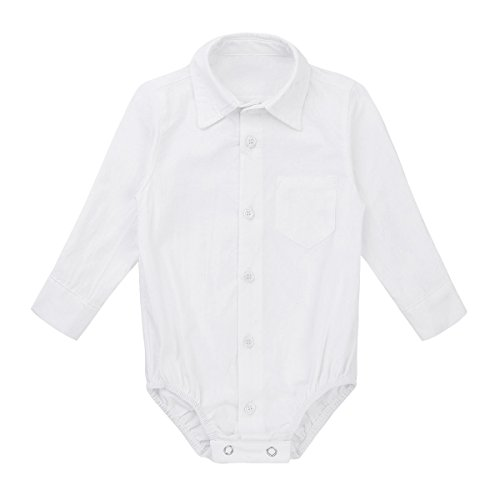 MSemis Baby Boys' White Formal Dress Shirts Gentleman Romper Bodysuit Wedding Party Outfits White 18 Months