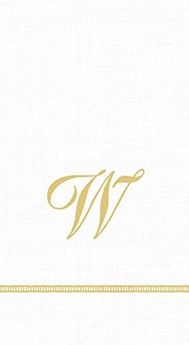 Caspari 3-Ply Paper Hemstitch Script White Monogram, 15 Count Guest Towel Napkins Letter (New Monogram Letter)