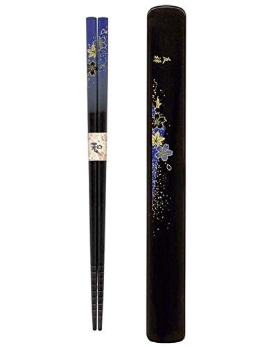 Blue Chopsticks - Happy Sales HSKS8/B Blue Floral Chopsticks in Case