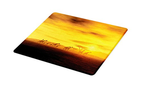 Lunarable Safari Cutting Board, Giraffes at Sunset Dramatic Clouds Sky and Earth Horizon African Wildlife, Decorative Tempered Glass Cutting and Serving Board, Small Size, Marigold and Amber