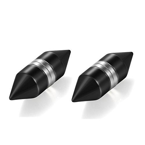 Punk Stainless Steel Black Spike Rivet Non-Piercing Magnet Stud Earrings ()