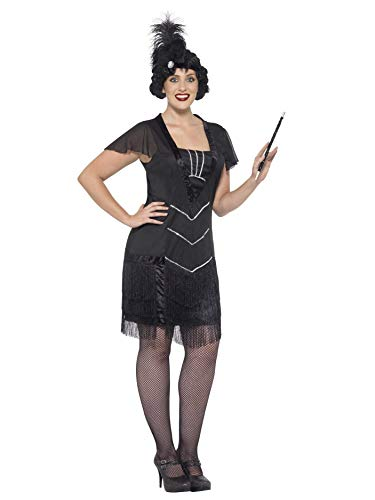 1920s Female Gangster Costume (Smiffys Women's Flapper Costume, Dress and Headband, 20's Razzle Dazzle, Serious Fun, Plus Size 18-20,)