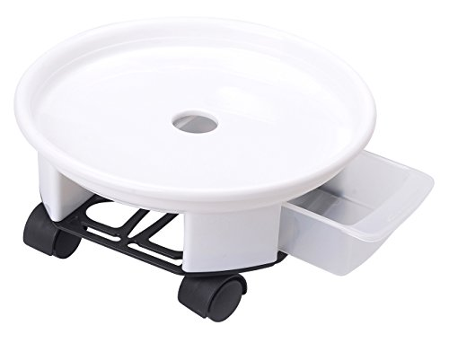 9.4'' Plant Caddy,Round Plant Dolly Trolley Saucer Moving Tray Pallet with Wheels and a Water Container,White,90 Count by Zhanwang