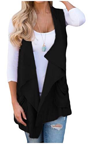 びっくりする行方不明砂Candiyer 女性固体不規則なノースリーブポケットは、フロントウェストコートのコートを開きます
