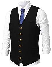 V VOCNI Men's Suede Leather Suit Vest Casual Western Vest Jacket Slim Fit Vest Waistcoat Club Tops