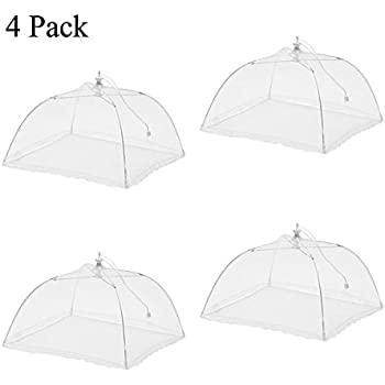 """Ilyever 4 Pack Large Pop-Up 17"""" x 17"""" Mesh Screen Food Cover Umbrella Tents Keep Out Flies, Bugs, Mosquitos, Wasps - Pefect for Home Outdoor Picnic"""