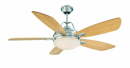 UPC 822920223792, Savoy House 52-490-5MP-SN 52-Inch Santa Ana Ceiling Fan, Satin Nickel Finish with Maple Blades and White Opal Etched Glass Shade