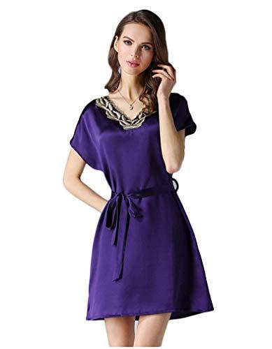 Con Manga Mujer En Mujeres Cuello Verano V Para Corta Clásico Morera Dormir Seda Violett Pijama Camisón Ropa De qPpt88