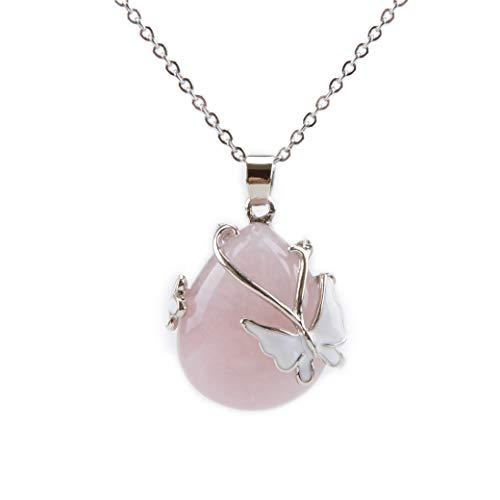 Bivei Vintage Wire Wrap Butterfly Gemstone Rose Quartz Amethyst Opalite Healing Crystal Pendant Necklace(Rose Quartz) ()
