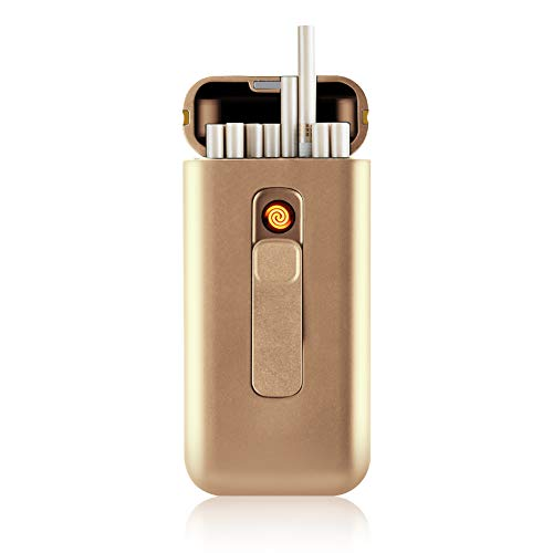 Cigarette Case with Lighter Cigarettes Box Portable Full Pack 20pcs 100s Cigarettes USB Lighters 2 in 1 Rechargeable Flameless Windproof Electric Lighter (Rose Gold) ()