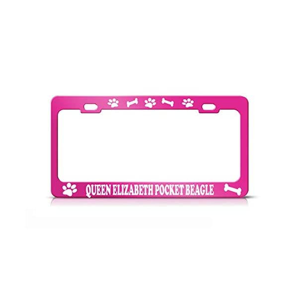 Product Express Queen Elizabeth Pocket Beagle Dog Paw Print License Plate Frame Tag Cover HOT Pink 1