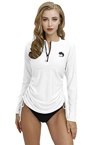 Swim Shirt for Womens Zipper Rashguard Long Sleeve Swimsuit Tops Surfing Shirt White L