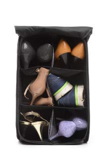 - Hidden Assets Unique Pop-up & Portable 6 Cell Shoe Bin Organizer - Perfect for Office, Locker, College Dorm Room, Travel Accessory, or Home. Use as Shoe Box, Shoe Storage, and Shoe Holder. (Black)
