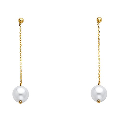 Wellingsale Ladies 14k Yellow Gold Polished Fancy Freshwater Cultured Pearl Dangle Hanging Drop Earrings (7 x 40mm) ()