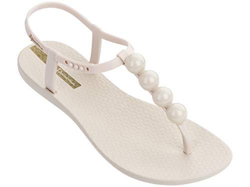 (Ipanema Women's Pearl T-Strap Sandals, Beige, Off White, 7 M US)