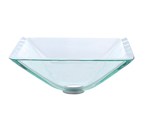 Kraus GVS-901-19mm-ORB Aquamarine Square Clear Glass Vessel Bathroom Sink with PU-MR Oil Rubbed Bronze