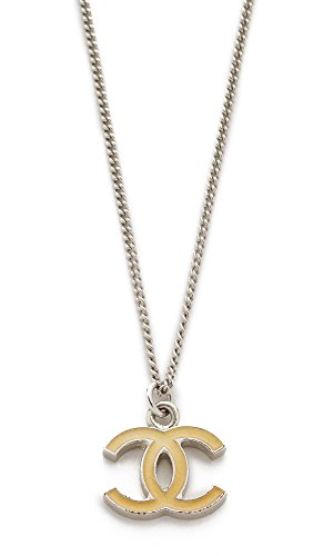 What Goes Around Vintage - What Goes Around Comes Around Women's Chanel Enamel CC Necklace (Previously Owned), Beige/Silver, One Size