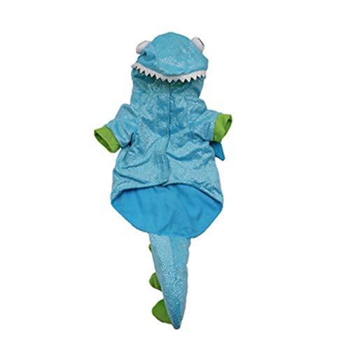 BKAMC 2019 New Dog Clothes Halloween Pets Turned Dinosaur Dress up Puppy Two feet Clothes Owners Dog Clothes Medium Dog Clothe S Blue