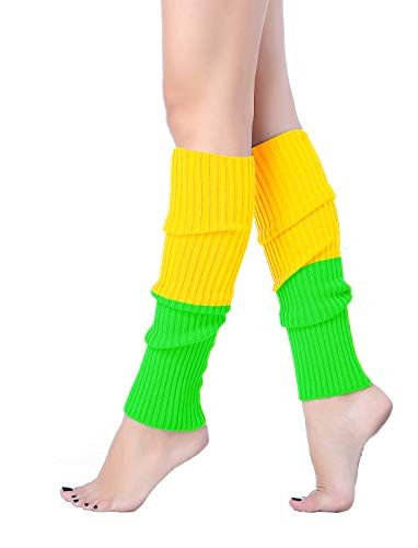 V28 Women Juniors 80s Eighty's Ribbed Leg Warmers for Party Sports(Mixyelgreen)