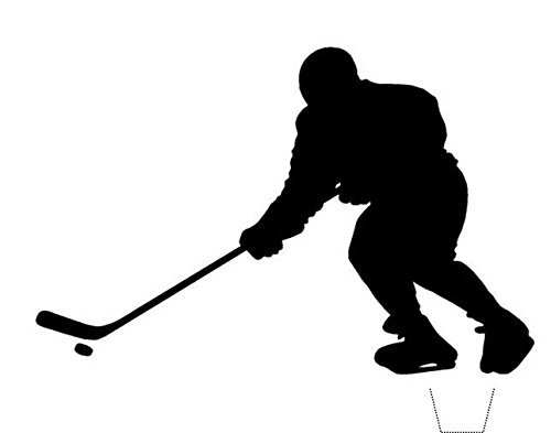 Novelty Ice Hockey Player Silhouette 12 Edible Stand up wafer paper cake toppers (5 - 10 BUSINESS DAYS DELIVERY FROM UK) -